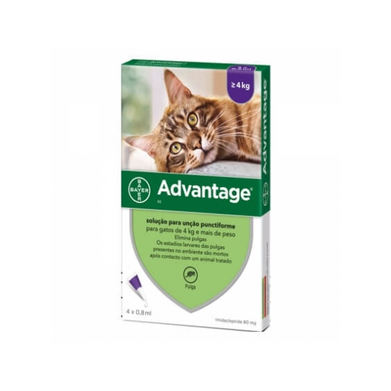 Advantage Gato Sol Uncao 0,8ml X 4 - mais de 4 kg